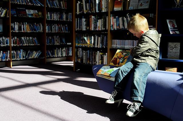 chlapeček v knihovně
